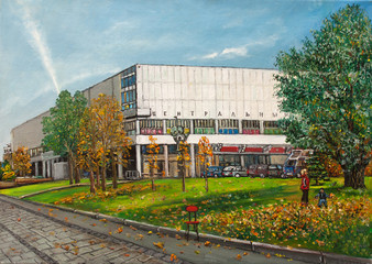 """title translation - """"central"""" -  central gallery in Moscow original oil painting on canvas, landmark painting impressionism at autumn, valley in front of  gallery"""