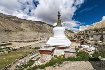 White stupa at Rongbuk Monastery near mount Everest in Tibet, China