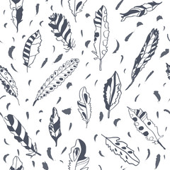 Graphic feathers seamless pattern, ornate design.