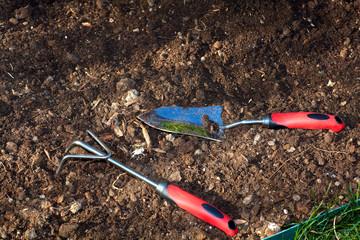 Gardening tools in the garden.