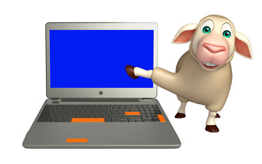 Sheep cartoon character with laptop
