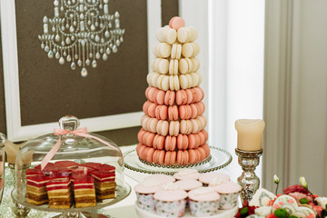 Tower made from the pink macaroons