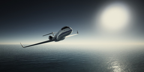 Photo of White Luxury Generic Design Private Jet Flying in Sky at sunrise. Blue Ocean and Sun Background. Business Travel Picture.Horizontal,Film Effect. 3D rendering.
