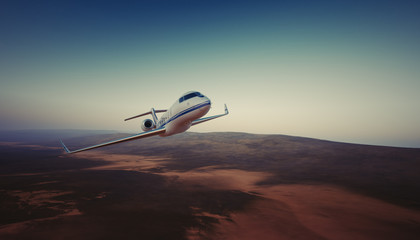 Photo of White Luxury Generic Design Private Jet Flying in Sky under the Earth Surface. Uninhabited Desert Mountains Background. Business Travel Picture. Horizontal. Film Effect. 3D rendering.