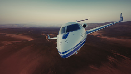 Photo of White Luxury Generic Design Private Jet Flying in Sky under the Earth Surface. Uninhabited Desert Mountains Background. Business Travel Picture. Wide, front view. Film Effect. 3D rendering.
