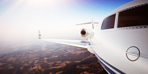 Closeup Photo Pilot Cabin White Luxury Generic Design Private Jet Airplane Flying Blue Sky sunset.Uninhabited Desert Mountains Background.Business Travel Picture.Horizontal,Film Effect.3D rendering