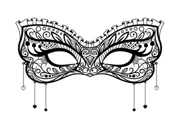 Elegant carnival mask. Black ornate lace masquerade mask. Vector illustration