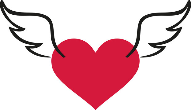Valentine's day heart with wings