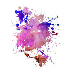 Watercolor spot with droplets, smudges, stains, splashes. Colorful multicolor blot in grunge style.