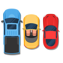 Papiers peints Cartoon voitures Cars top view. Convertible, sport car and pickup. Flat style col