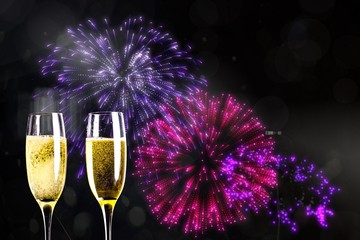 Composite image of firework with champagne
