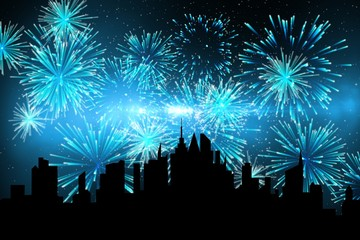 Composite image of a city during a firework