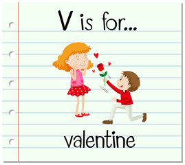 Flashcard letter V is for valentine