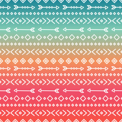 Hand drawn geometric ethnic tribal seamless pattern. Wrapping paper. Scrapbook. Doodles style. Tribal native vector illustration. Aztec background. Stylish ink graphic texture for design. Boho stripes