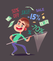 Boy is catching discounts.Vector illustration.