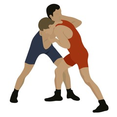 Sport wrestling, isolated vector