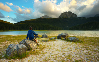 Tourist Watching a Lake of Crno Jezero in Durmitor, Montenegro