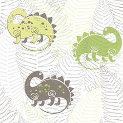 Seamless pattern with dinosaurs and ferns. Vector illustration.