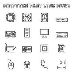 computer part line icons