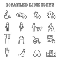 disabled line icons