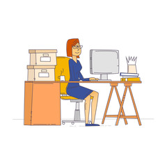 Thin line woman sitting at the table and working on the computer. Business, office work, workplace. Flat design vector illustration.