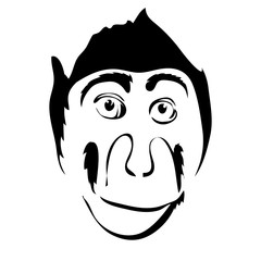 Monkey outline cartoon face vector illustration. Can be use for