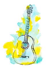 hand drawn classical guitar and watercolor splash illustration