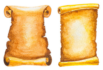 set of ancient scrolls isolated on white. watercolor