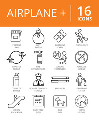 Airplane Plus Icons Set