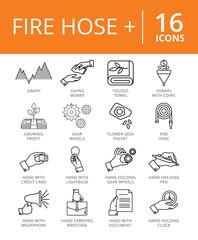 Fire Hose Plus Icons Set