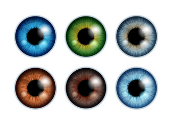 Human eyeballs iris pupils set - assorted colors.