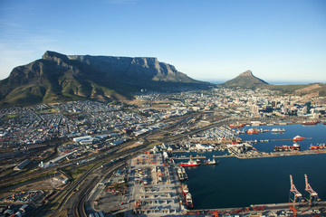 Cape Town Harbour and Table Mountain, South Africa
