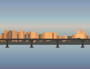 City Skyline cityscape, bridge, building, sunset, town, river