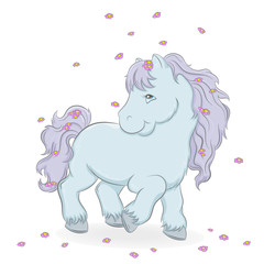 Illustration of a cute horse and flowers on a white background