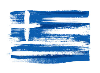 Greece colorful brush strokes painted flag. Fototapete