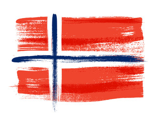 Norway colorful brush strokes painted flag.