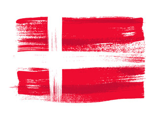 Denmark colorful brush strokes painted flag.