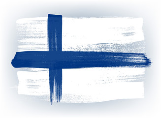 Finland colorful brush strokes painted flag.