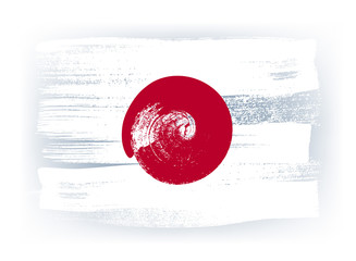 Japan colorful brush strokes painted flag.
