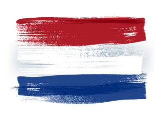 Fototapeta Netherlands colorful brush strokes painted flag.