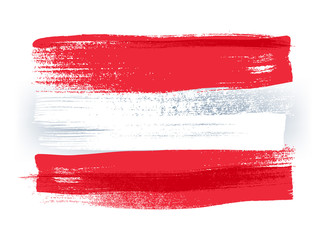 Austria colorful brush strokes painted flag.