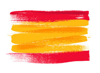 Spain colorful brush strokes painted flag. Wall mural