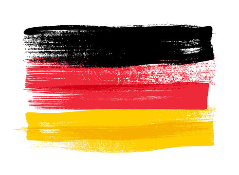 Germany colorful brush strokes painted flag.