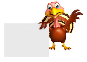 cute Turkey cartoon character with board
