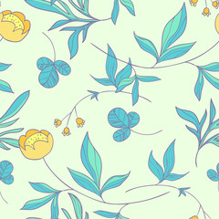Forest herbs. vector floral seamless pattern