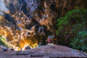 Morning sunbeam on royal pavilion in the Phraya Nakhon Cave, Pra