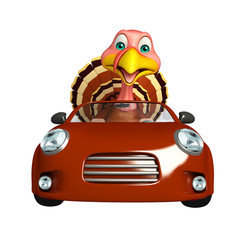 Turkey cartoon character with car