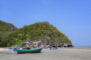 Fishing boats at the Gulf of Laem Sala beach  Prachuap Khiri Kha