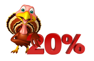 fun Turkey  cartoon character  with 20% sign