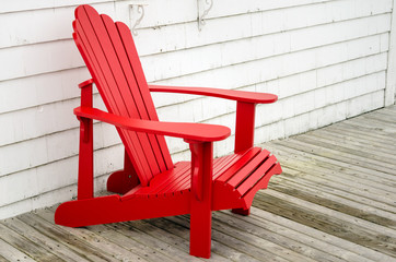 Red Adirondack Chair on a patio